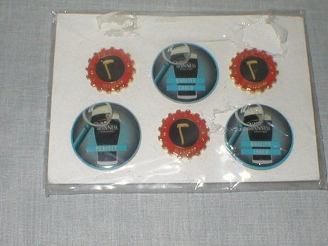 Rare Set Of Six Guinness Buttons/Badges Mint Unused