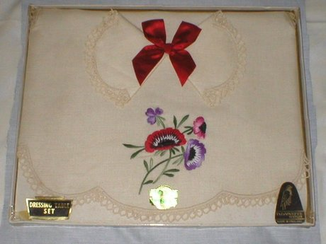 Vintage Pure Irish Linen Dressing Table Set