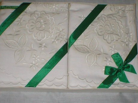 Vintage All Pure Irish Embroidered Pair of Pillow Cases