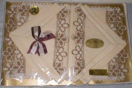 Twelve Piece Pure Irish Linen Place Mat Set Hand Stiched Borders