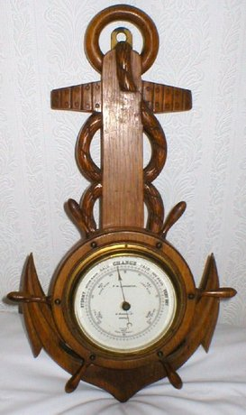 Vintage Edwardian Oak Barometer With Nautical Theme