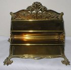 Solid Brass Heavy Late Victorian Letter Rack