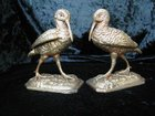 A PAIR OF SIMPSON HALL MILLER & CO USA PLATED BIRDS